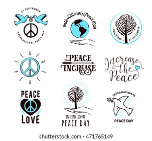 Vector illustration of international peace day september 21. Element design for poster, badge with peace symbol, dove, tree, palm, earth, quote sign. Greeting collection day of peace