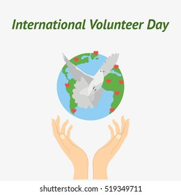 Vector illustration for International Volunteer Day for Economic and Social Development symbolical icons of hands releasing dove of peace