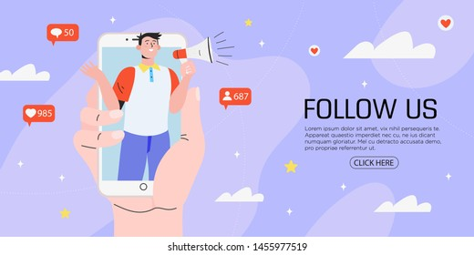 Vector illustration for internet advertisement. Hands holding smartphone with a man shouting in loud speaker. Influencer marketing, social media or network promotion, SMM  banner, landing page,flyer.