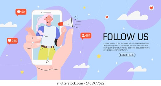 Vector illustration for internet advertisement. Hands holding smartphone with a girl shouting in loud speaker. Influencer marketing, social media or network promotion, SMM  banner, landing page,flyer.