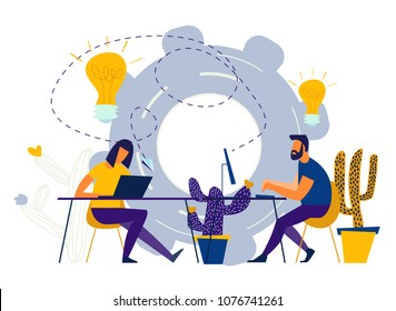 vector illustration Internet assistant at work. promotion in the network. manager for remote work, team work on the project, brainstorming