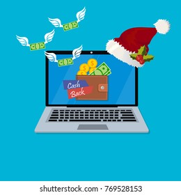 Vector illustration of internet banking. Cashback or refund app. laptop with mobile wallet. Ecommerce. Wallet with cash back sign coins and banknotes