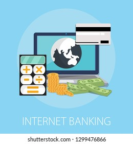 """Vector illustration of internet banking & online payment with """"internet banking"""" money transfer concept. money payment icon."""