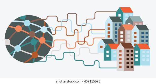 vector illustration of internet connection to many buildings with global network and wires to city