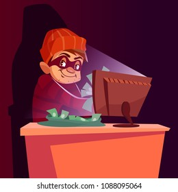Vector illustration of internet hacker scam. Cartoon scammer man or internet thief smug happy in mask sitting at laptop and stealing money online at night from web fraud