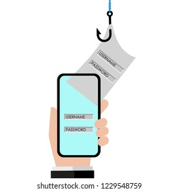 Vector illustration of Internet phishing concept. Stealing username and password from smart phone.
