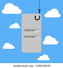 Vector illustration of Internet phishing concept. Stealing username and password from mobile application in the public cloud.