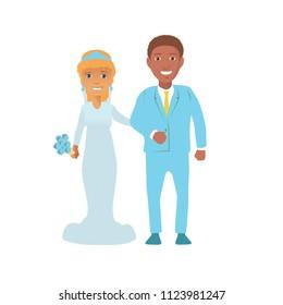 Vector Illustration of an Interracial Couple Having Their Portrait Taken.  interracial wedding. white bride and  black groom