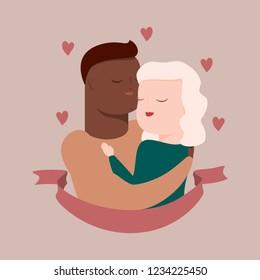 vector illustration of interracial couple in tender hugs