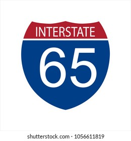 Vector illustration interstate highway 65 road sign icon isolated on white background