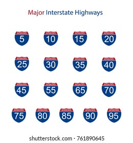 Vector illustration interstate major highway road sign icon  set, collection isolated on white background