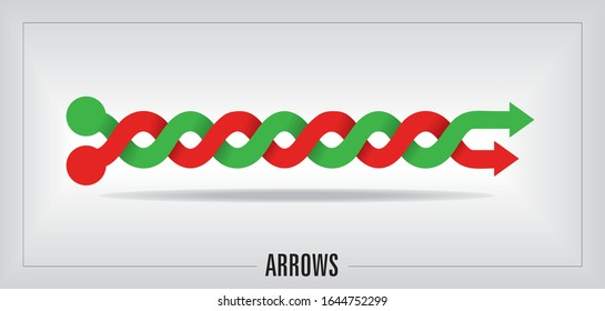 Vector illustration, intertwined Arrows in green and red.