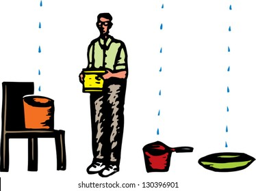 Vector illustration of an inundated man