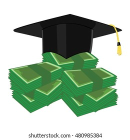 Vector illustration investment in education concept. Graduation cap, hat and money