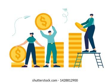vector illustration, investment management, the company is engaged in the joint construction and the cultivation of cash profits, career growth to success, flat color icons, business