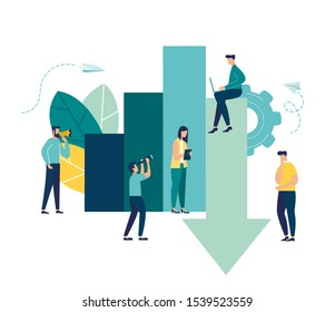vector illustration. Investment management, the company is engaged in joint problem solving, sales decline, downward decline.