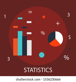 """Vector illustration of investment & statistical concept with """"statistics"""" research and management icon."""