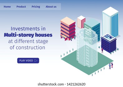 Vector Illustration Investments in Multi-storey Houses at Different Stage of Construction. People Discuss Size Future Construction Site. Virtual Tour Future High-rise Home. Isometric Landing Page.