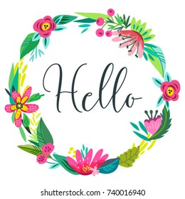 Vector illustration, invitation template. Floral wreath.