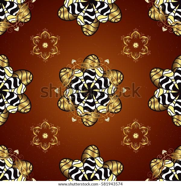 Vector illustration for invitations, cards, web page. Golden outline floral decor. Eastern style element. Line art border for design template. Golden element on red background.