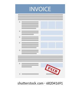 Vector illustration invoice with red stamp paid icon in flat line style isolated on white background. Payment and billing invoices. Business or financial operations sign. Invoice for services rendered