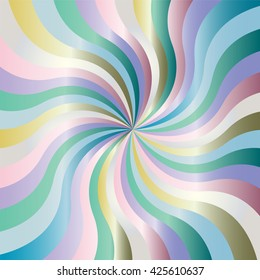 Vector Illustration. Iridescent Satin Wavy Stripes Pattern. Expanding Stripes Running from the Center. Geometric Abstract Background. Suitable for textile, fabric, packaging and web.