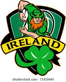 "vector illustration of an Irish leprechaun or rugby player running with ball wearing hat with shamrock or clover leaf  and shield with words ""Ireland"""