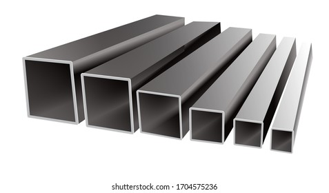 Vector illustration of iron square tubes on a white background