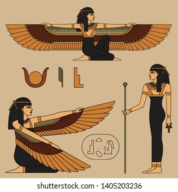 Vector illustration of Isis, ancient Egyptian goddess. Seated woman with wings. Color illustration with isolated objects.