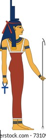 Vector illustration of Isis, ancient Egyptian goddess