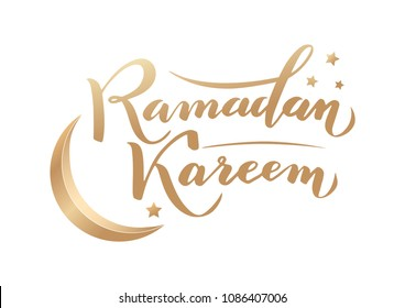 Vector illustration. Islamic  Ramadan Kareem greeting beautiful gold lettering with moon and stars on white background. For Ramadan Kareem greeting cards, banners, posters, create and printing.