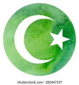 Vector illustration of Islamic symbol crescent and star on bright green circle watercolor background.