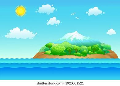 Vector illustration with island, sea and sun. Cartoon summer background
