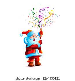 Vector illustration isolate character santa claus smile slapstick flapper petard confetti serpentine holiday fun sticker emoji happy new year merry christmas mascot design element white background