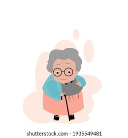 Vector illustration isolate flat design cartoon front view of cute one grandmother showing thumbs up ,old fat woman in colorful clothes with magic cane and glasses ,standing alone on white background.