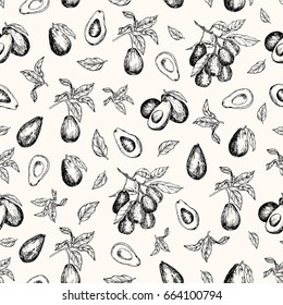 Vector illustration. Isolated avocado fruit , avocado leaves and branches. Vector seamless pattern.