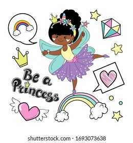 Vector illustration isolated with a beautiful African American fairy princes on a white background for children. Fashion patch badges. Card for little girl