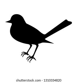Vector illustration of an isolated bird silhouette. Black and white.