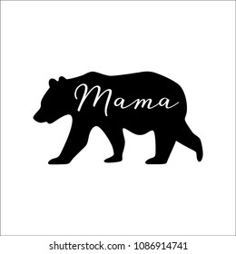 Vector illustration of an isolated black bear icon with the word mama written in modern calligraphy cut out of it - mama bear.