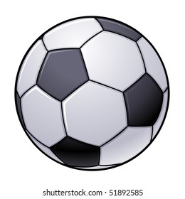 Vector illustration of an isolated black and white soccer ball.