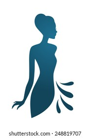Vector illustration of Isolated blue woman silhouette