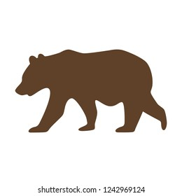 Vector illustration of an isolated brown grizzly bear icon. Simple flat style.