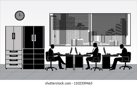 vector illustration Isolated Business man woman people working office focus on the laptop PC professional person window wardrobe clock element