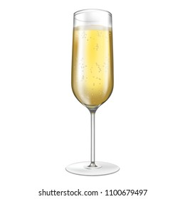 Vector illustration. Isolated champagne gobble icon with bubbles.