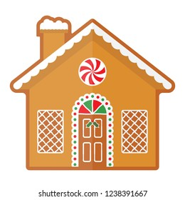 Vector illustration of an isolated Christmas gingerbread house.