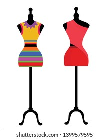 Vector illustration of an isolated classic style and modern dress on a mannequin. - Vector