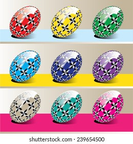 Vector illustration of isolated colorful easter eggs with abstract ornaments.
