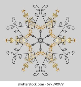 Vector illustration. Isolated cute snowflakes on colorful background. Snowflakes on a gray background. Snowflake vector pattern.