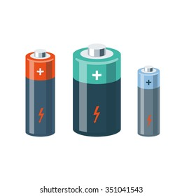 Vector illustration of isolated cylinder batteries in cartoon style.