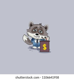 Vector Illustration isolated Emoji character cartoon wealth riches in business suit wolf cub pup sticker emoticon training presentation orator speaker behind podium money profit dollar earning income